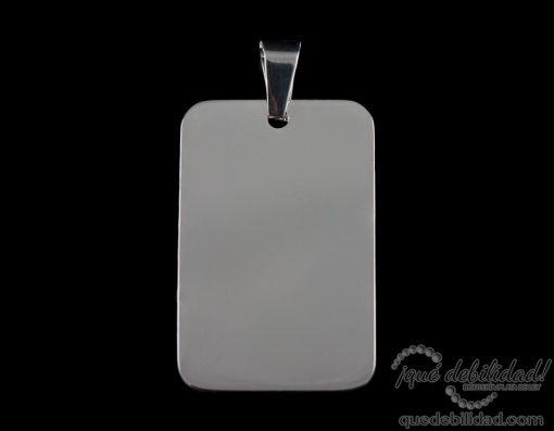 Colgante de acero medalla rectangular grande