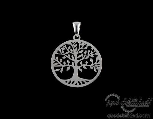 Colgante de plata rodiada árbol de la vida plateado