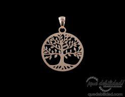 Colgante de plata rodiada árbol de la vida oro rosa