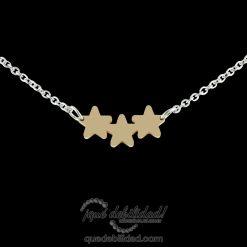 Collar de acero tres estrellas dorado