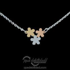 Collar de acero tres flores tricolor