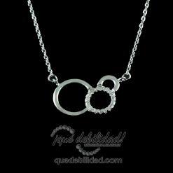 Collar de plata circulo circonitas y liso
