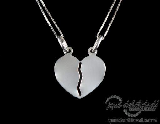 Collar de plata doble con corazón divisible
