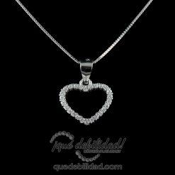 Collar de plata con colgante de corazón hueco circonitas