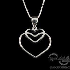 Collar de plata con doble corazón hueco