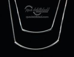 Collar de plata con doble tubo y dos cadenas