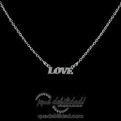 Collar de plata rodiada love