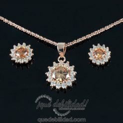 Conjunto de plata circonita ambar color oro rosa