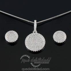 conjunto de plata borde blanco circonitas