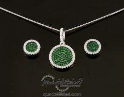 conjunto de plata borde blanco circonitas verde