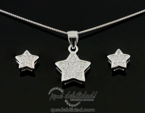 conjunto de plata estrella circonitas