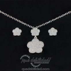 Conjunto de plata flor cerezo circonitas