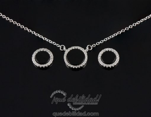 Conjunto redondo de plata en nacar-onix con borde de circonitas blancas