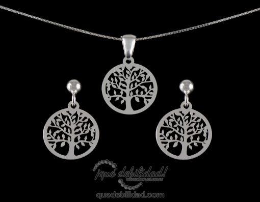 Conjunto de plata rodiada árbol de la vida