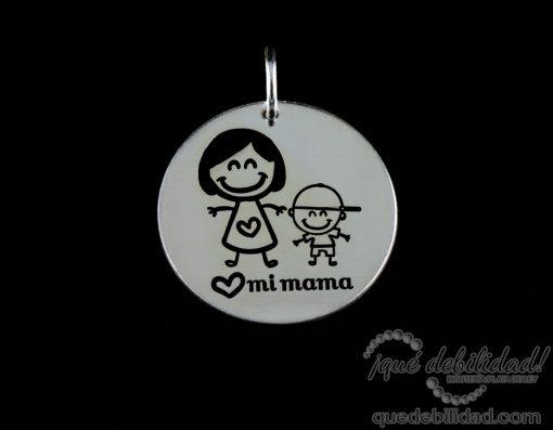 Medalla de plata con dibujo de mama niño