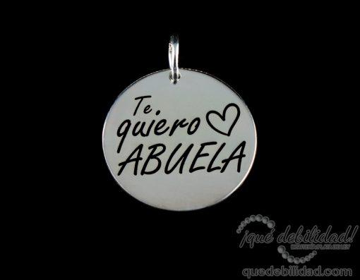 Medalla de plata con la frase Te Quiero Abuela