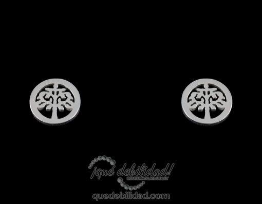 Pendientes de acero árbol de la vida plateados