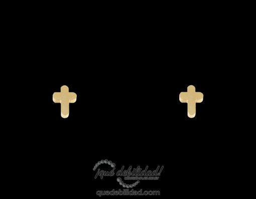 Pendientes de acero cruz dorados