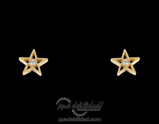 Pendientes de acero estrella grande piedra central dorados