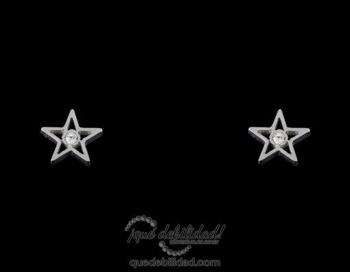 Pendientes de acero estrella grande piedra central plateados