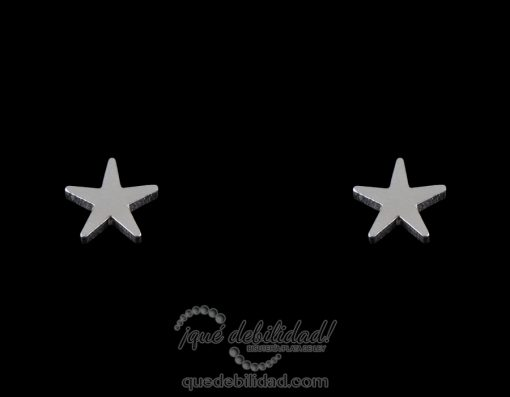 Pendientes de Acero estrella grande plateados