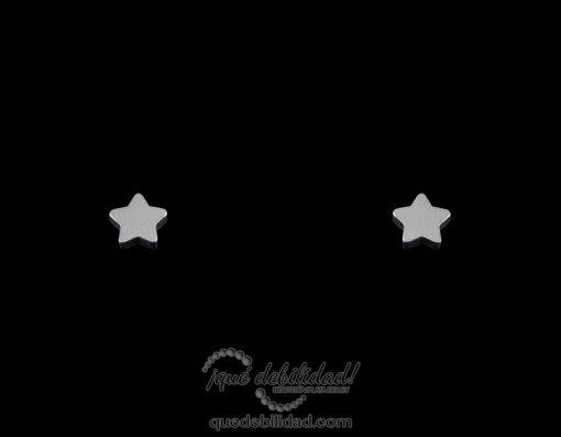 Pendientes de acero estrella pequeña plateados