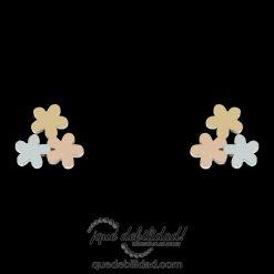 Pendientes de acero flores tricolor