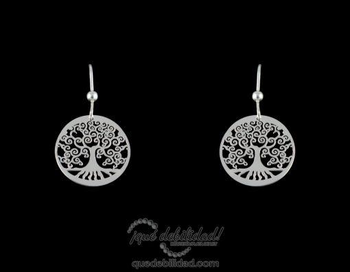 Pendientes de plata árbol de la vida plateados