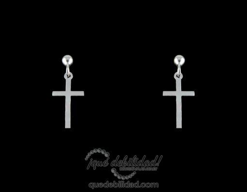 Pendientes de plata cruz