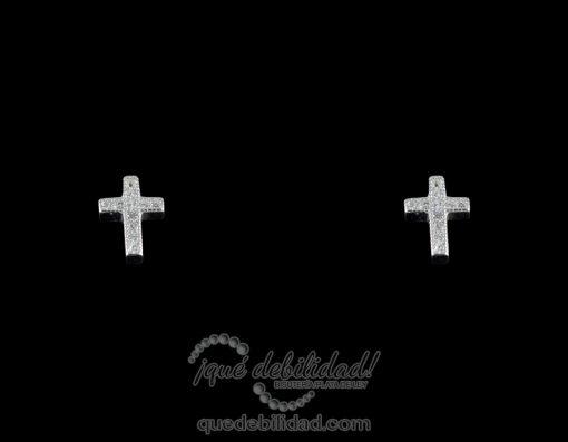 Pendientes de plata con forma de cruz fina circonitas blancas