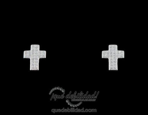 Pendientes de plata con cruz ancha circonitas blancas