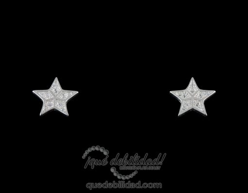 Pendientes de plata con estrellas circonitas blancas
