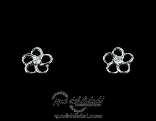 Pendientes de plata flor circonita blanca