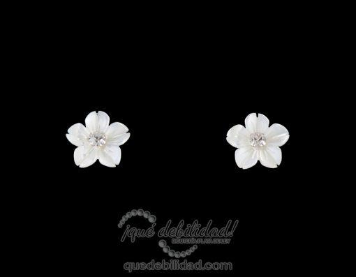 Pendientes de plata flor nácar circonita blanca