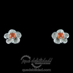 Pendientes de plata con forma de flor ojo de gato naranja