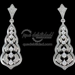 Pendientes de plata largos con siete circonitas blancas