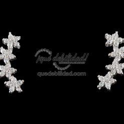 Pendientes de plata lóbulo flores circonitas blancas