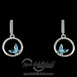 Pendientes de plata con círculo y mariposas circonitas azules