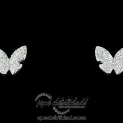 Pendientes de plata con mariposa circonitas blancas