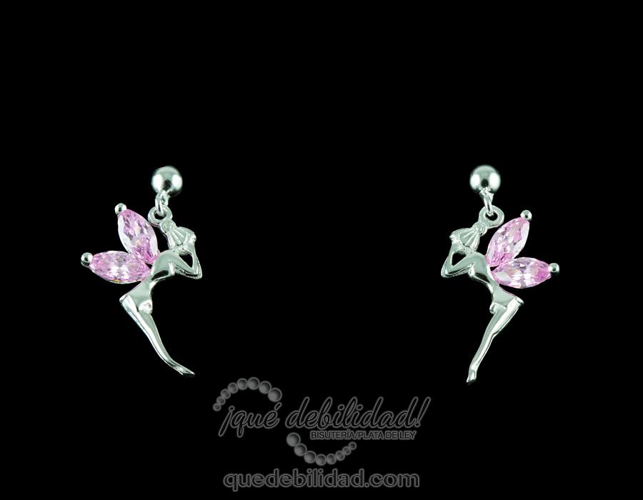 Pendientes de plata de ninfa circonitas rosas