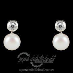 Pendientes de plata perla circonita con cierre omega