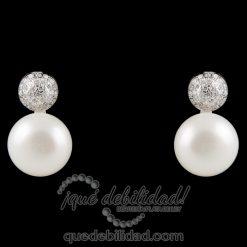 Pendientes de plata perla circonitas con cierre omega