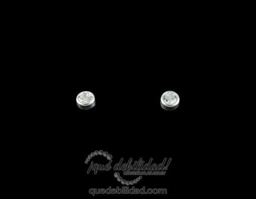 Pendientes de plata redondos mini con circonita
