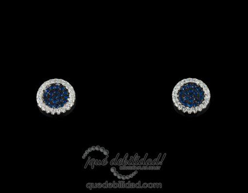 Pendientes de plata redondos borde circonitas azul