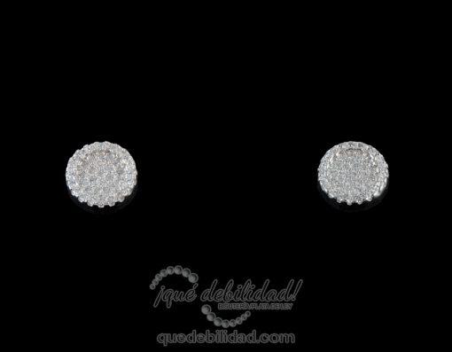 Pendientes de plata redondos borde circonitas blanco