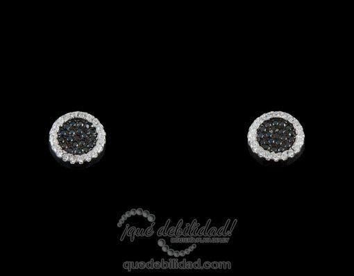 Pendientes de plata redondos borde circonitas negro