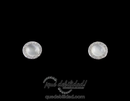 Pendientes de plata redondos borde circonita blanca ojo de gato blanco 1