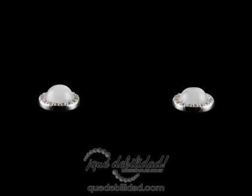 Pendientes de plata redondos borde circonita blanca ojo de gato blanco 2