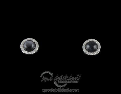 Pendientes de plata redondos borde circonita blanca ojo de gato negro 1