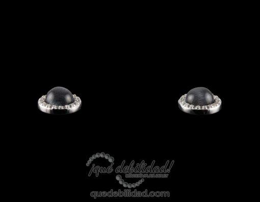 Pendientes de plata redondos borde circonita blanca ojo de gato negro 2